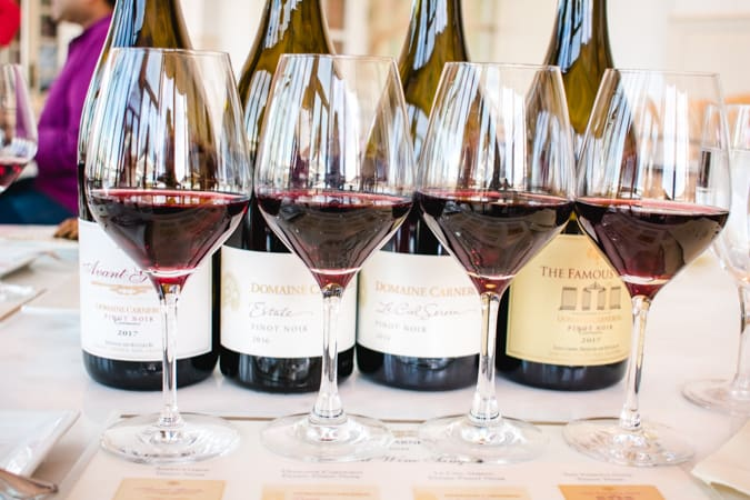 4 glasses of pinot noir from Domaine Carneros