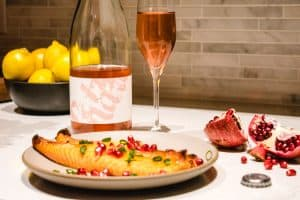 Gilbert Family Wine pet nat rose with salmon belly and pomegranate