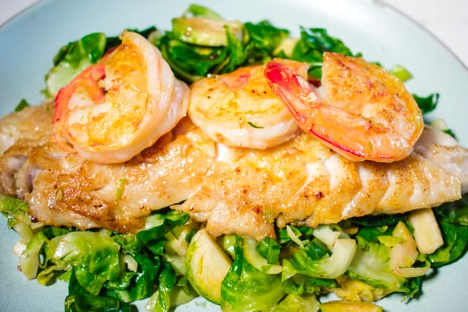 curry dusted rockfish with shrimp and brussel sprouts