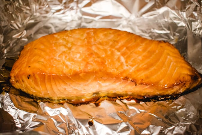 Japanese Baked Salmon on foil