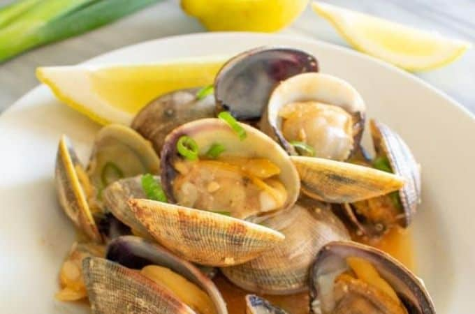 miso manila clams horizontal image