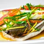 closeup shot of chinese steamed black cod