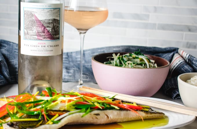 chinese steamed black cod with bonny doon rose wine