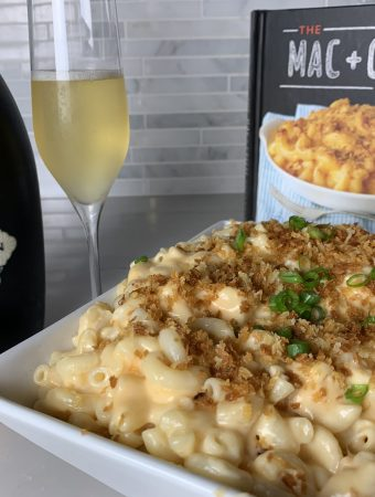 sparkling wine, mac'n cheese, and sparkling wine