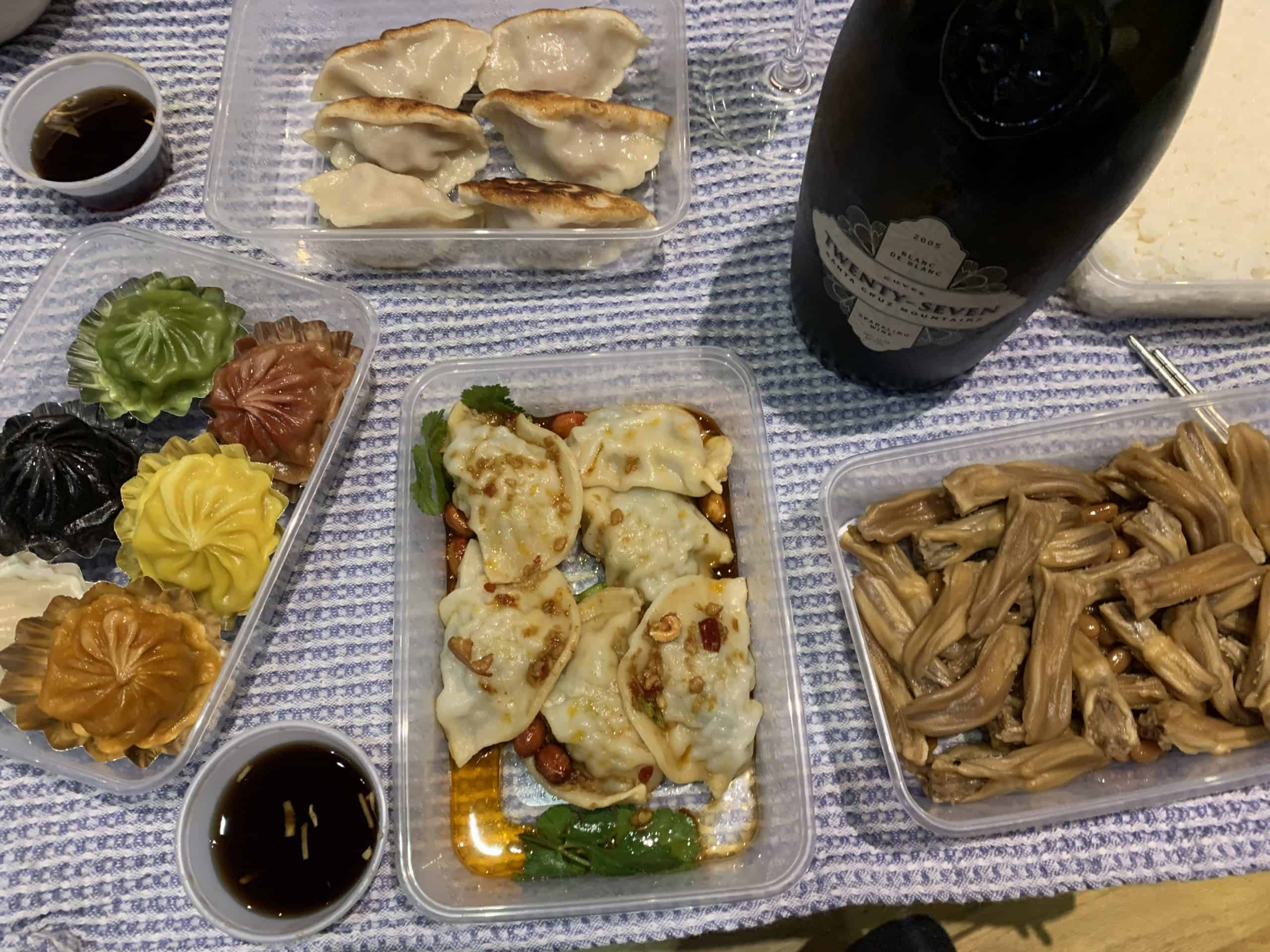 Chinese dim sum with sparkling wine