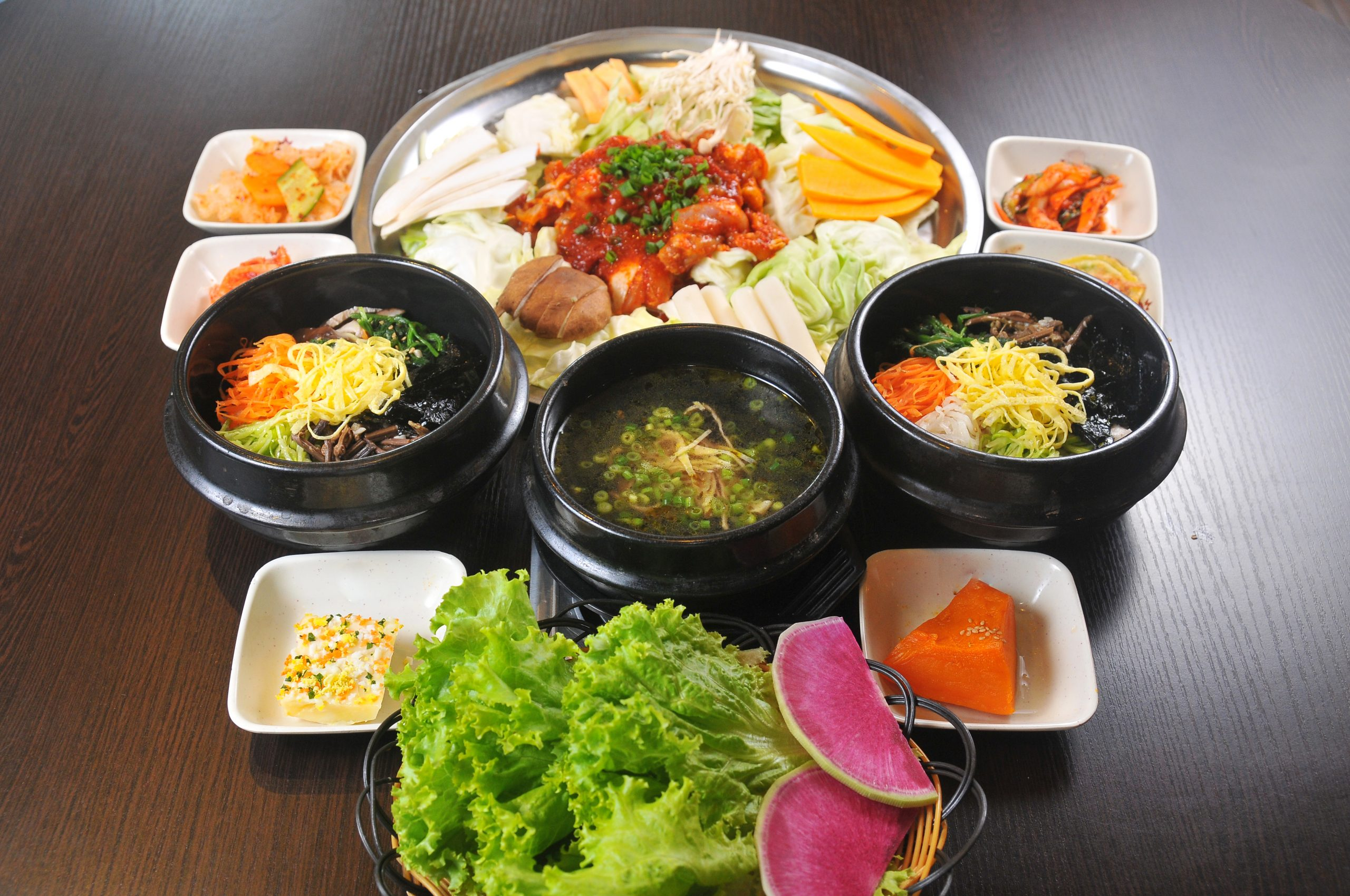 spread of vegan Korean food