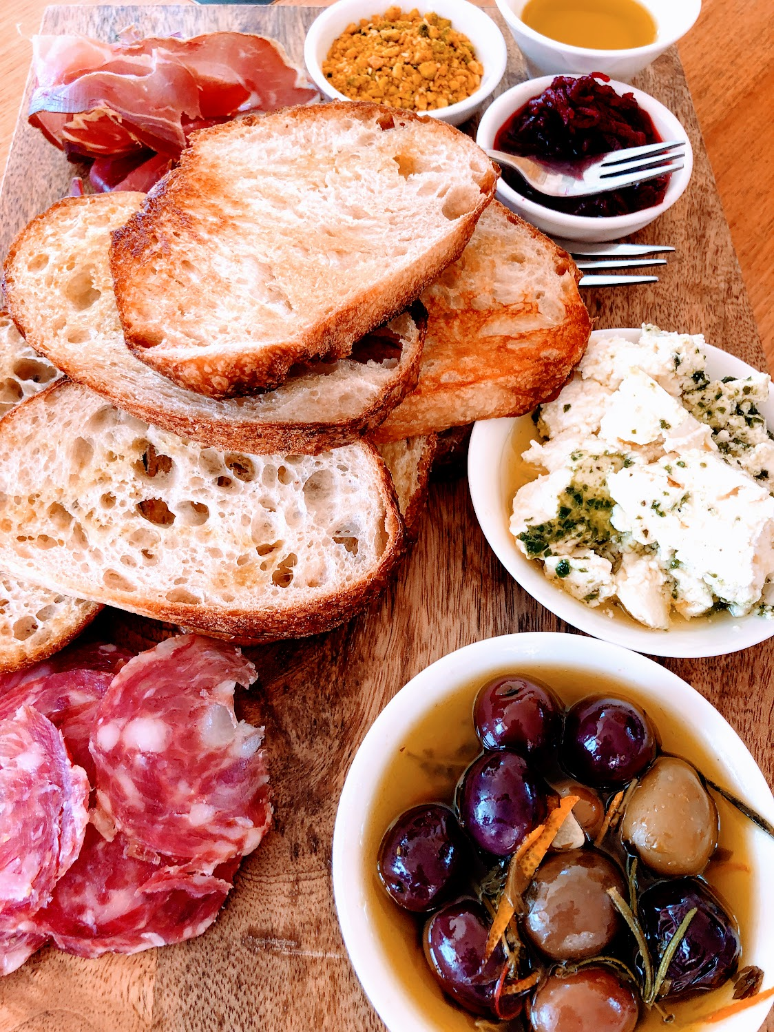 charcuterie board and fresh bread at Logan wines