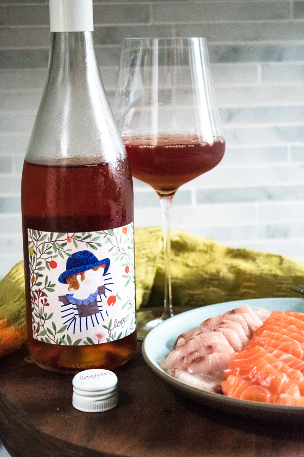 Clementine wine with a plate of sashimi
