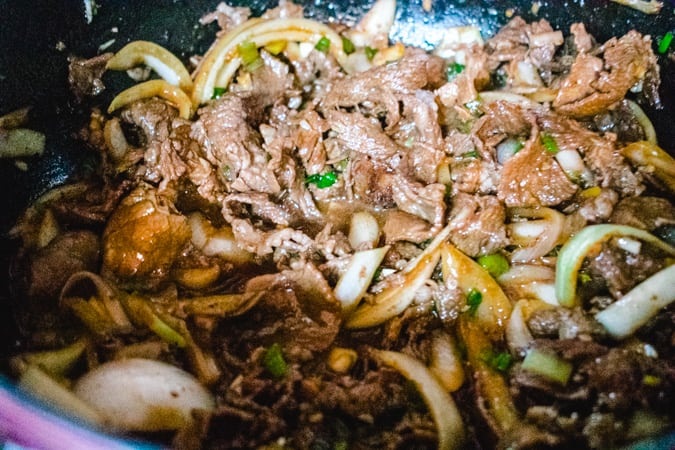 korean bbq beef with onion in a pan