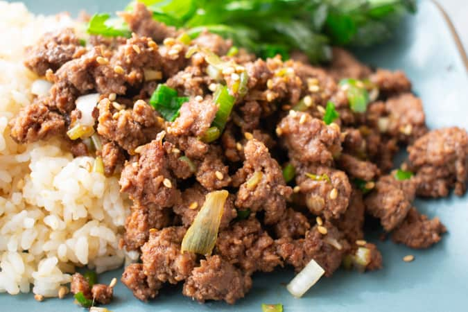 Korean bbq ground beef on a blue plate