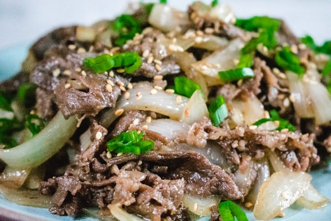 close up of Korean bbq beef and onion