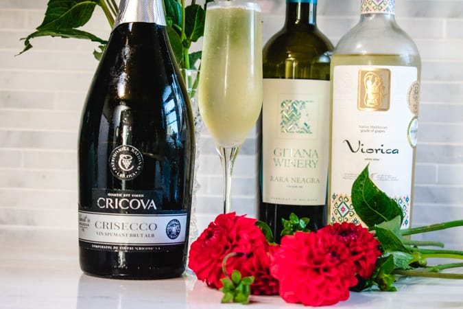 Trio of Moldovan wines with red flowers