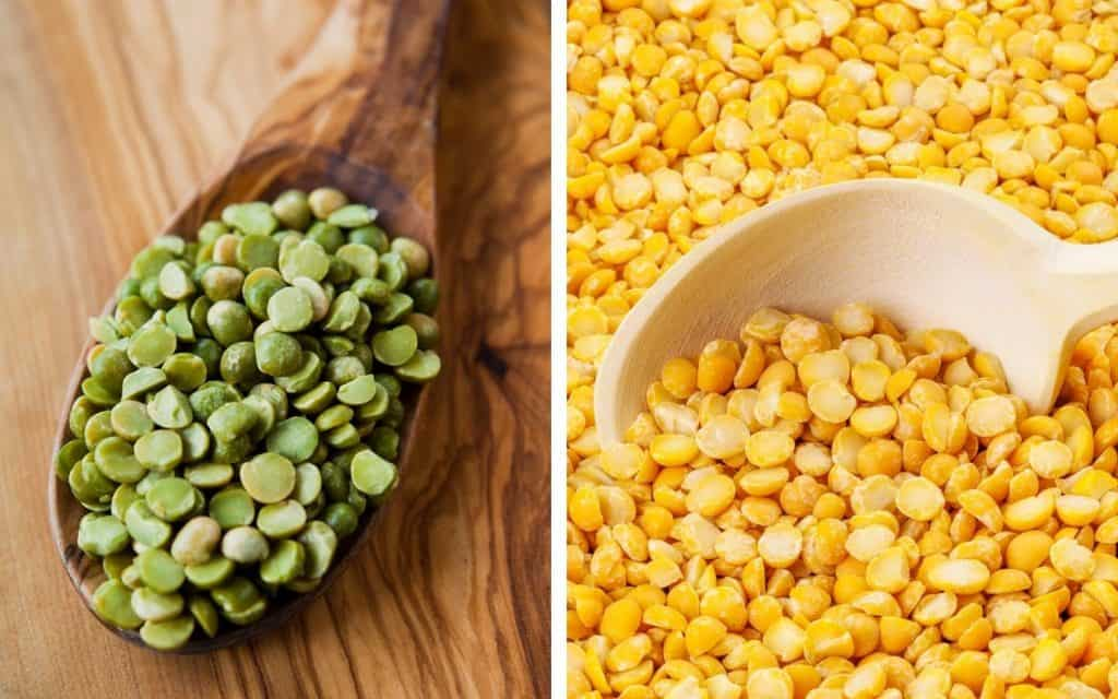 split image of green split peas and yellow split peas with wooden spoons
