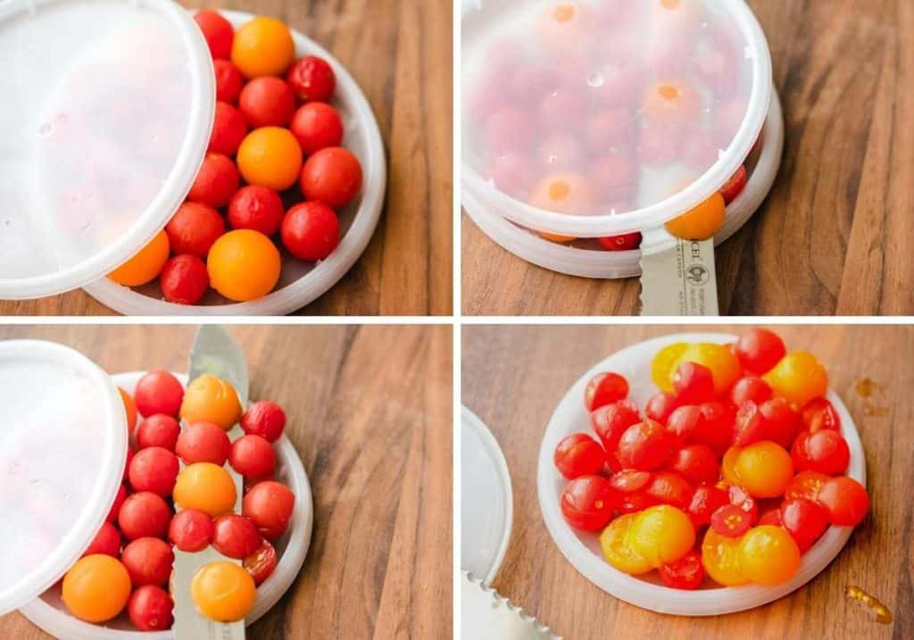 4 picture collage of slicing cherry tomatoes in half between 2 plastic lids