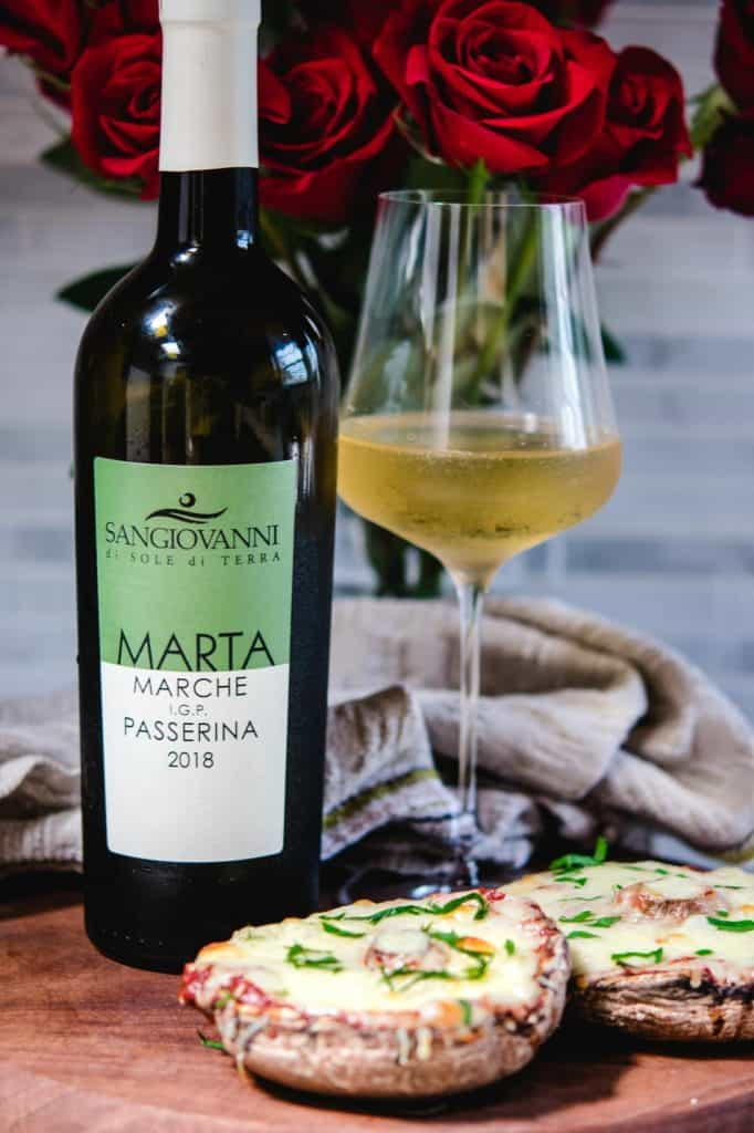 italian vegan white wine with portabella pizza