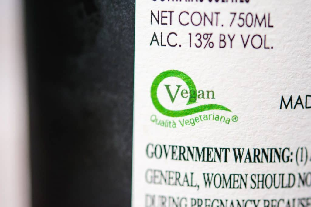 vegan certification on a wine label