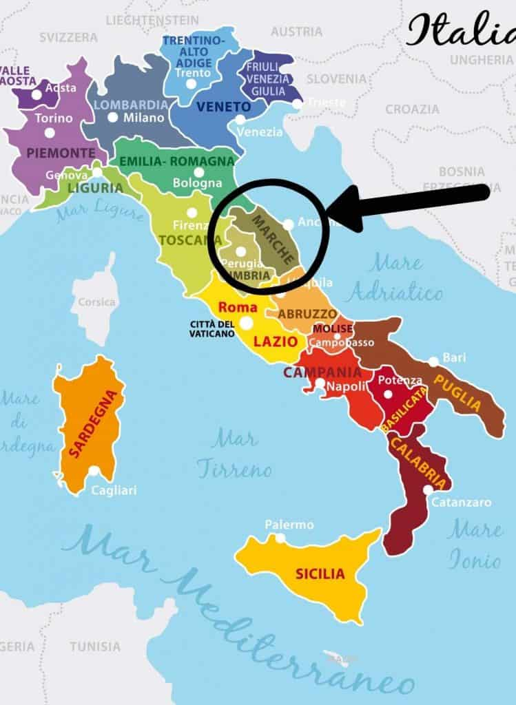 map of Italian wine regions with Le Marche circled in black