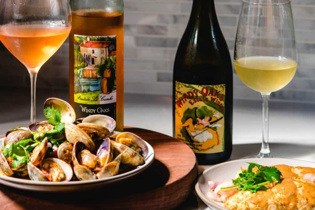 Clams and chicken food pairings with Windy Oaks wines