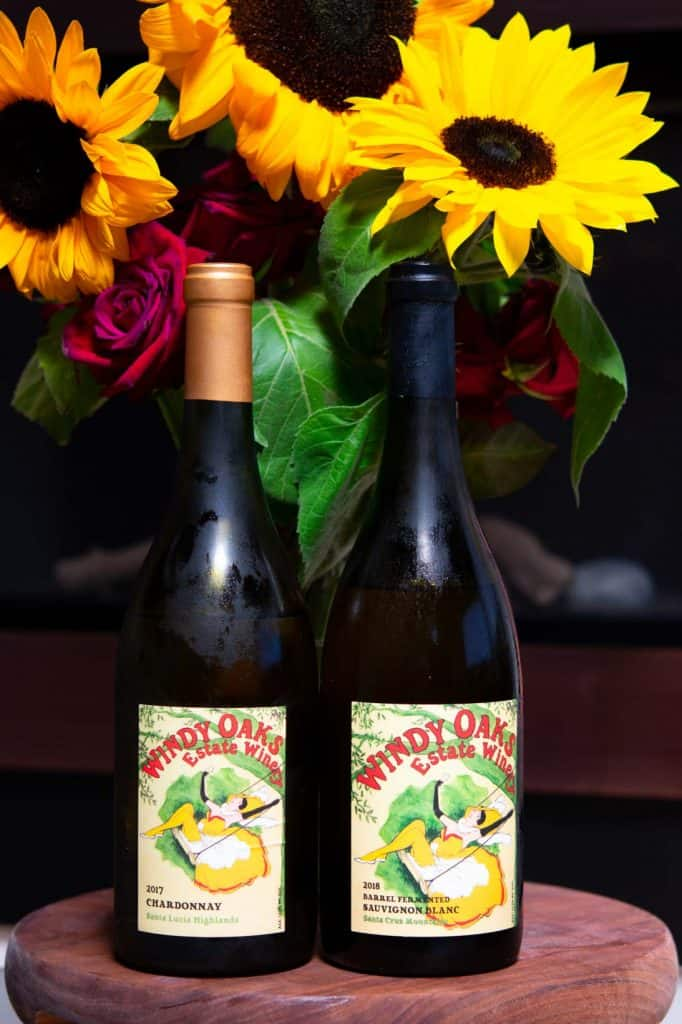 2 bottles of Windy Oaks wines with sunflowers