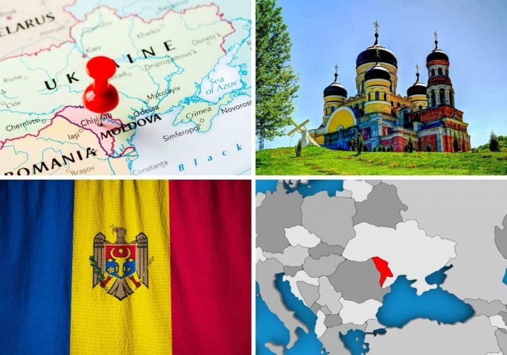2 Moldovan maps, 1 Moldovan flag and 1 castle photo