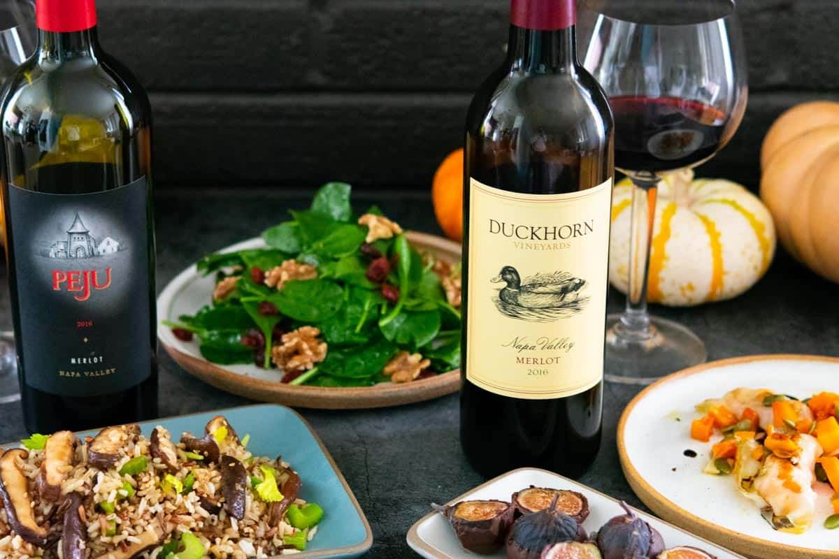 Peju and Duckhorn merlots with a fall vegan dishes