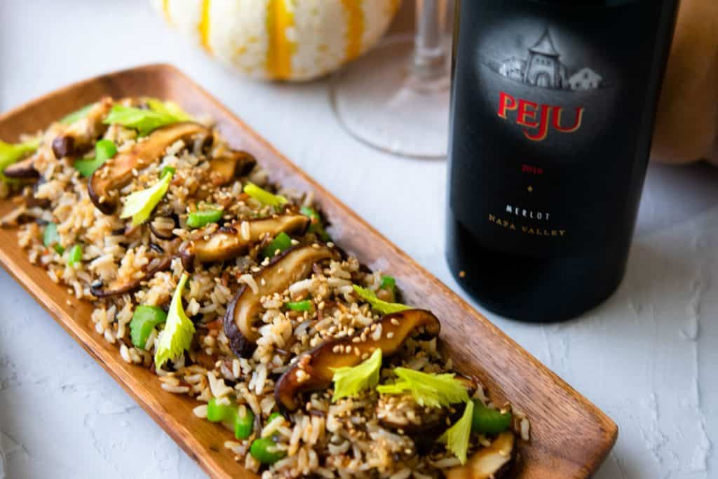 Wild rice fried rice paired with Peju Merlot