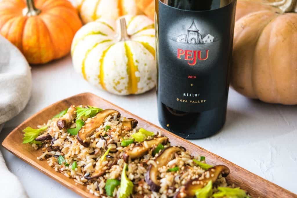 shiitake mushroom fried rice with Peju Merlot and pumpkins in the background