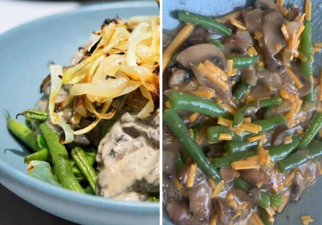 2 versions of green bean casserole with roasted onions and vegan cheese