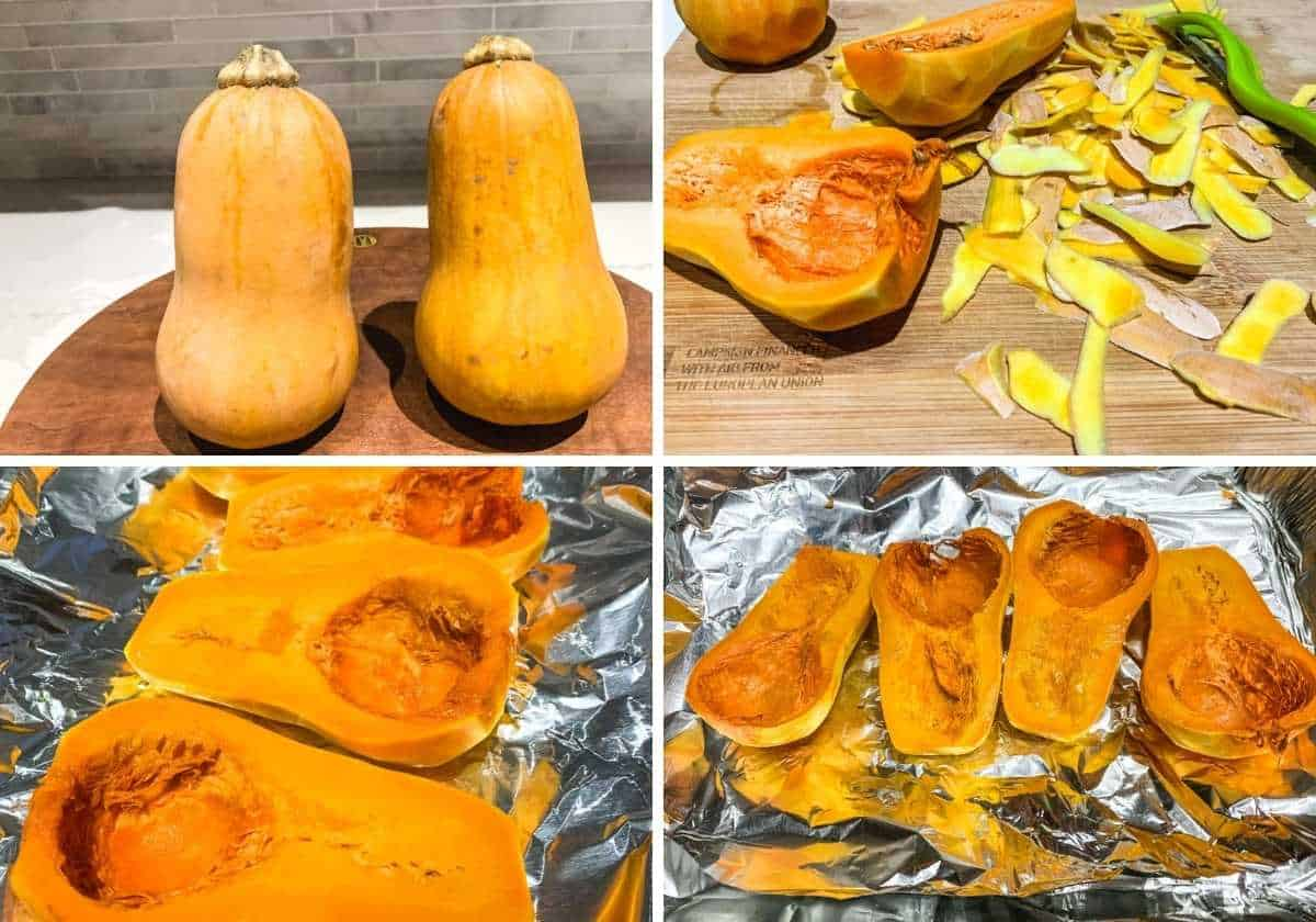 peeled honeynut squash shown before and after baking in the oven