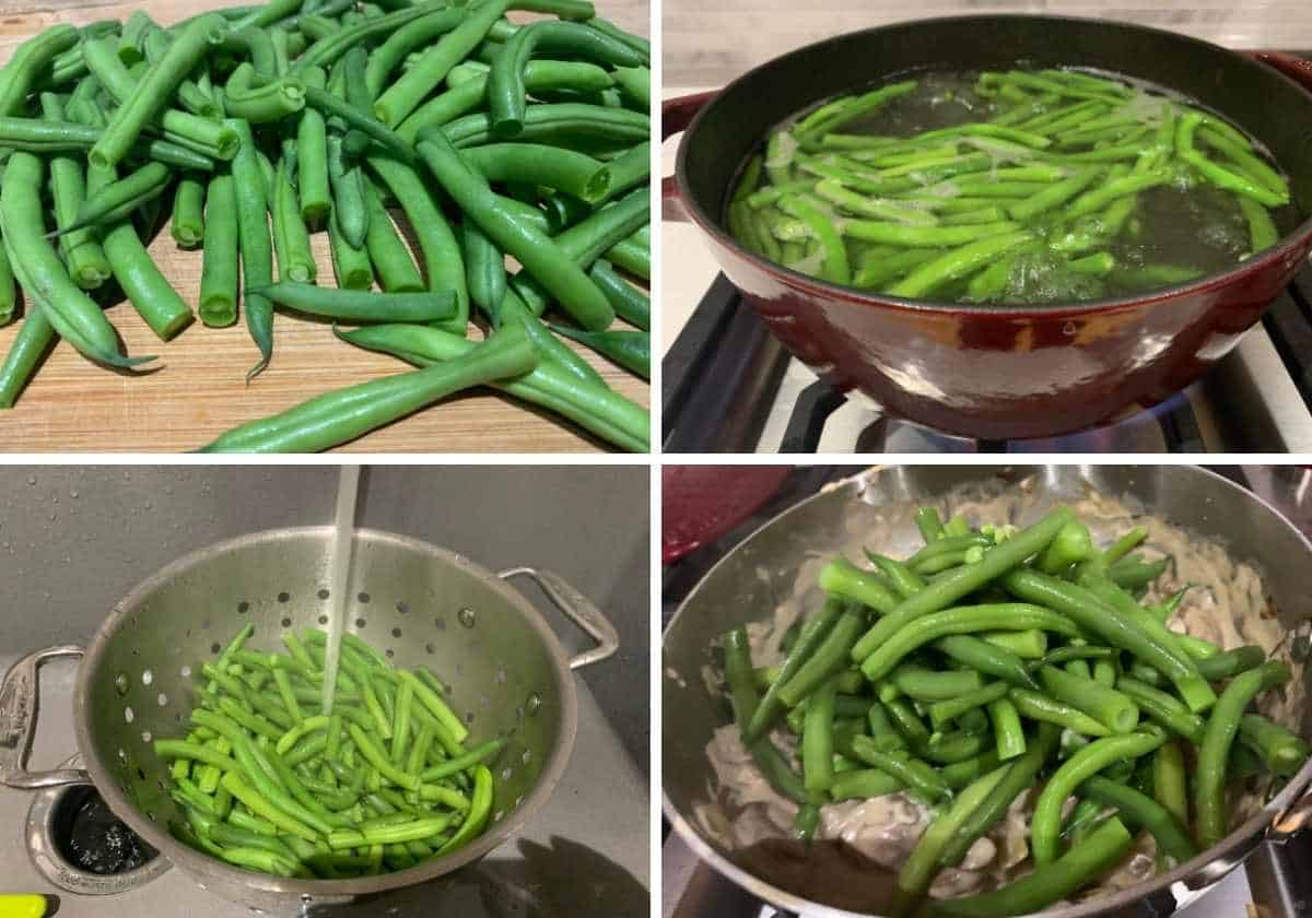 stages of green beans being boiled and cooled for casserole