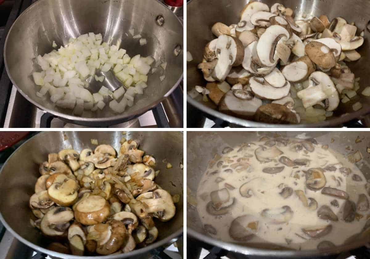 Stages of Onions sauteed in a pan with mushrooms and coconut milk