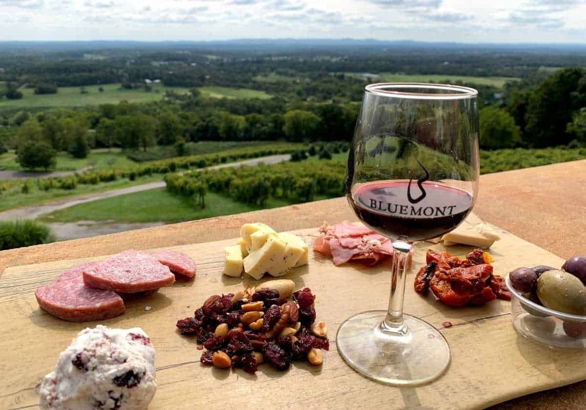 Bluemont wine, cheese and charcuterie board