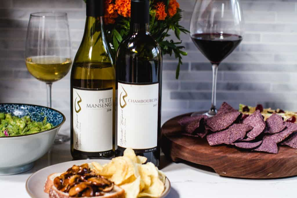 close up shot of virginia wines paired with snack food