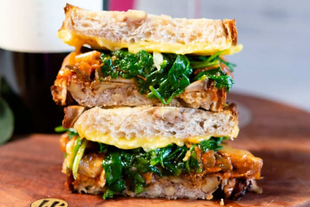 Vegan lasagna sandwich stacked on top of each other