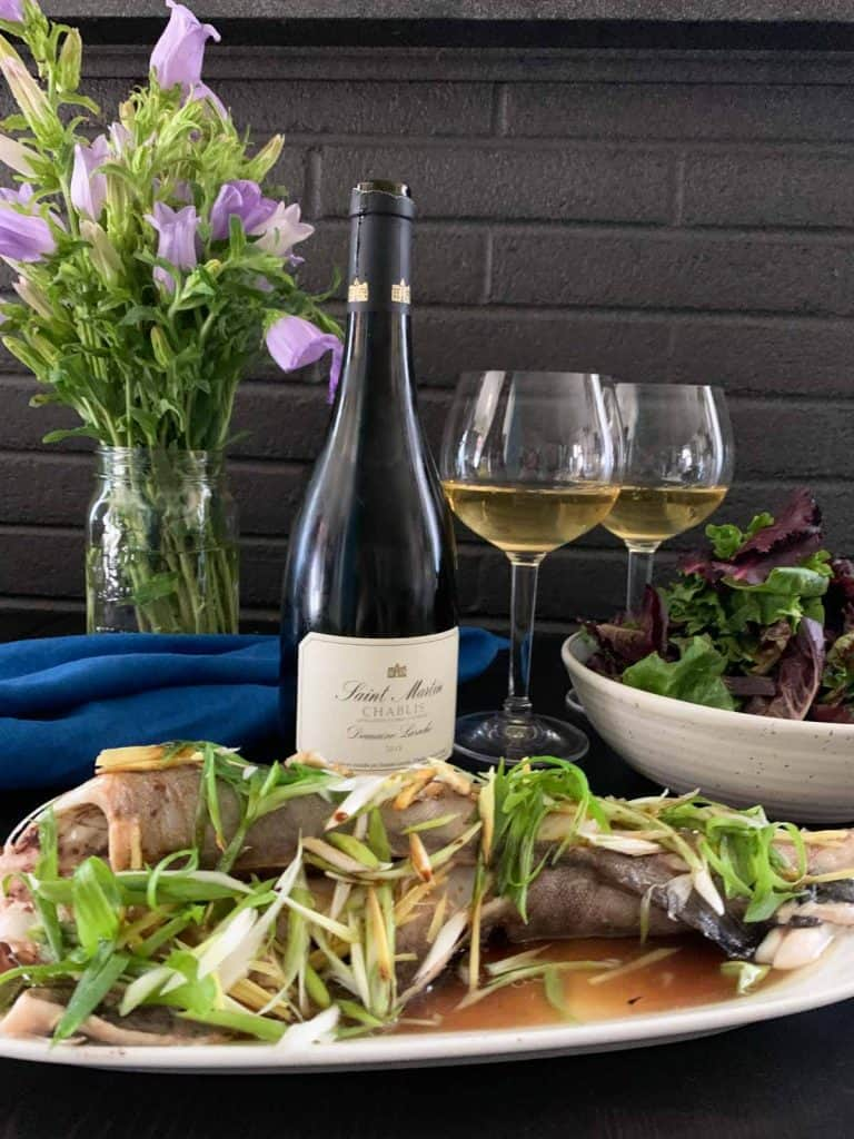 Chinese steamed fish paired with Chablis