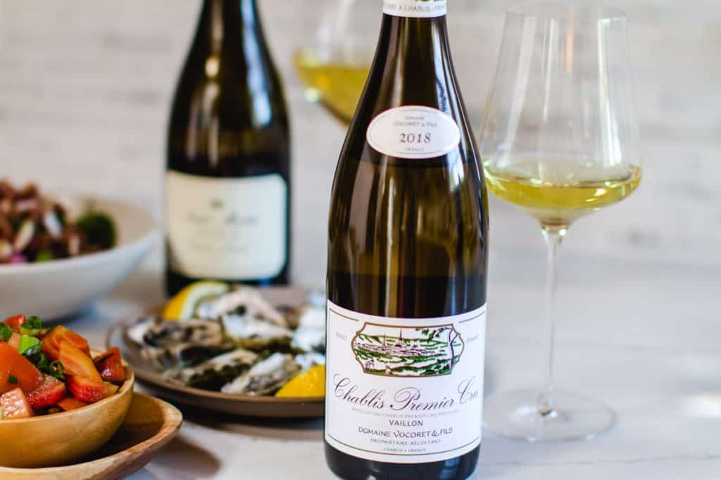 2018 Domaine Vocoret, Chablis 1er Cru Vaillon with food in the background