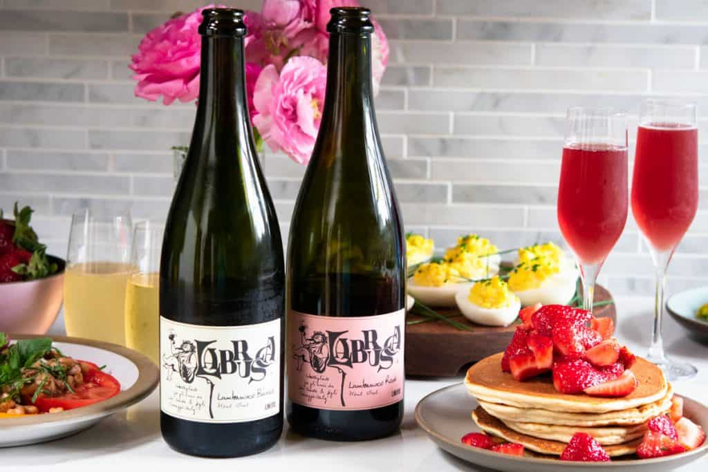 2 bottles of Lini Labrusca wines with gluten free brunch dishes