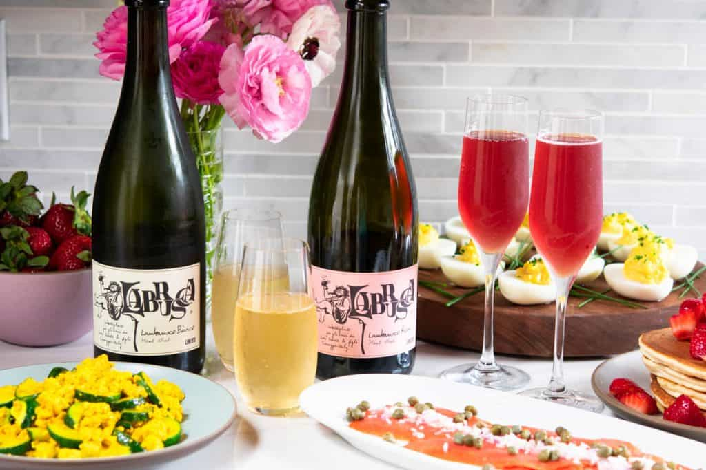 Lini Lambrusco wines with a spread of brunch dishes