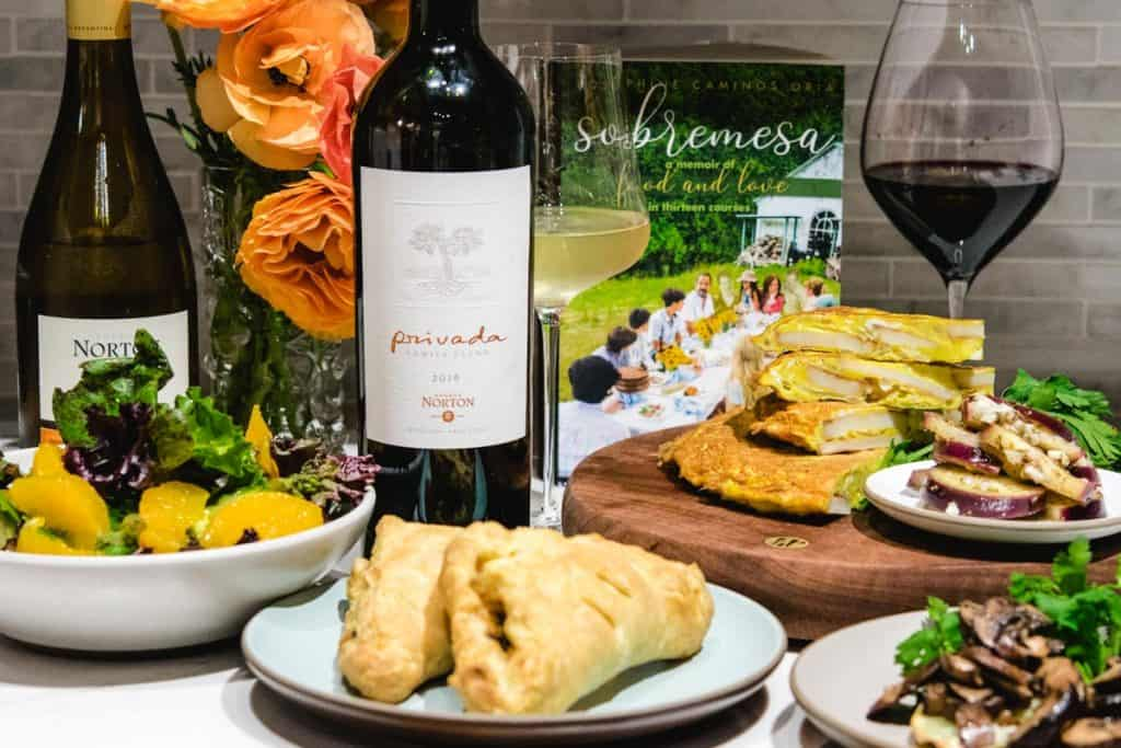 vegetarian argentinian inspired dishes with wine and book