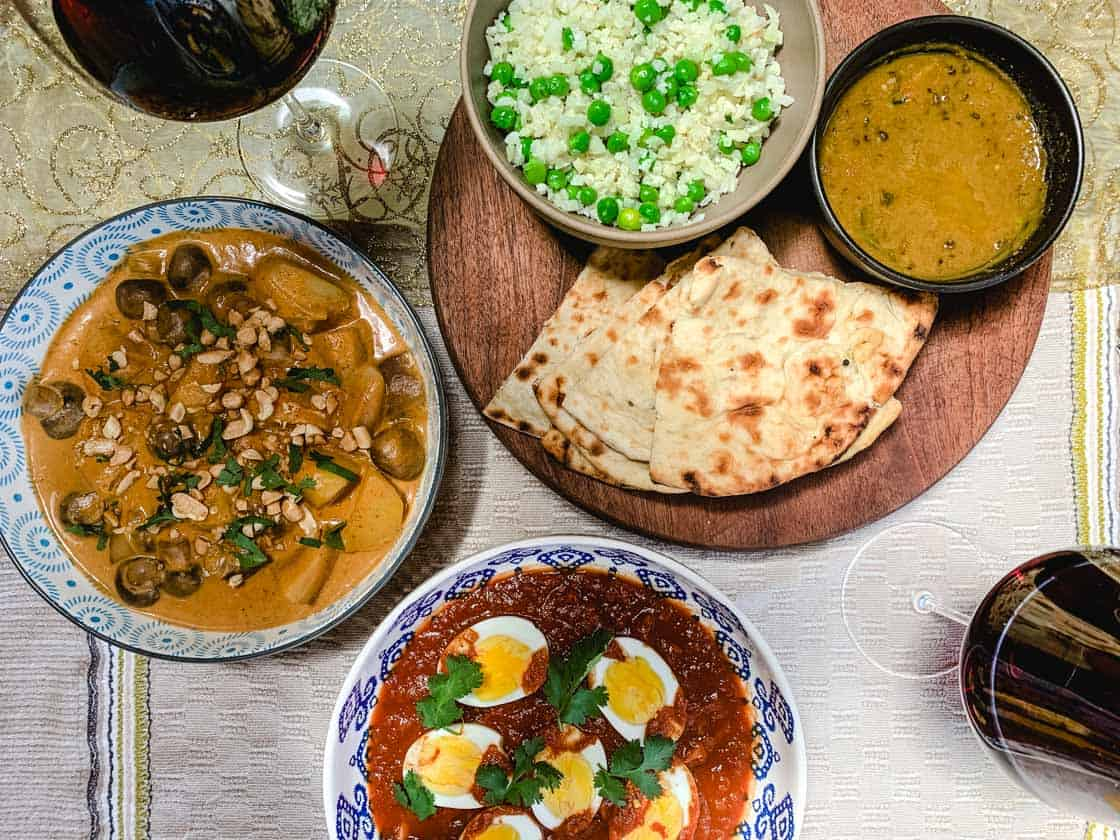 a meal of curries paired with mudgee red wine